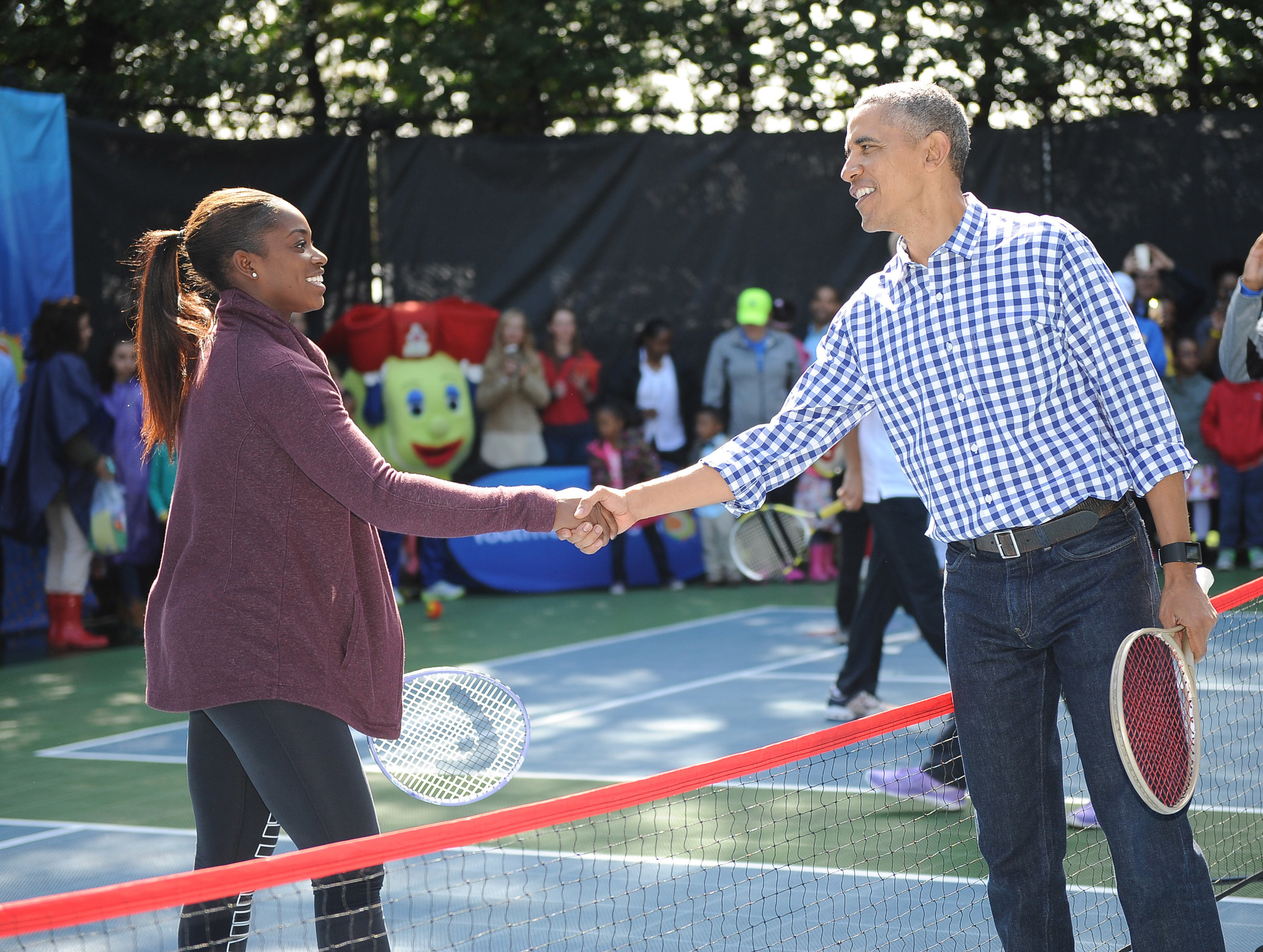 President Obama Plays Tennis at White House Easter Egg Roll
